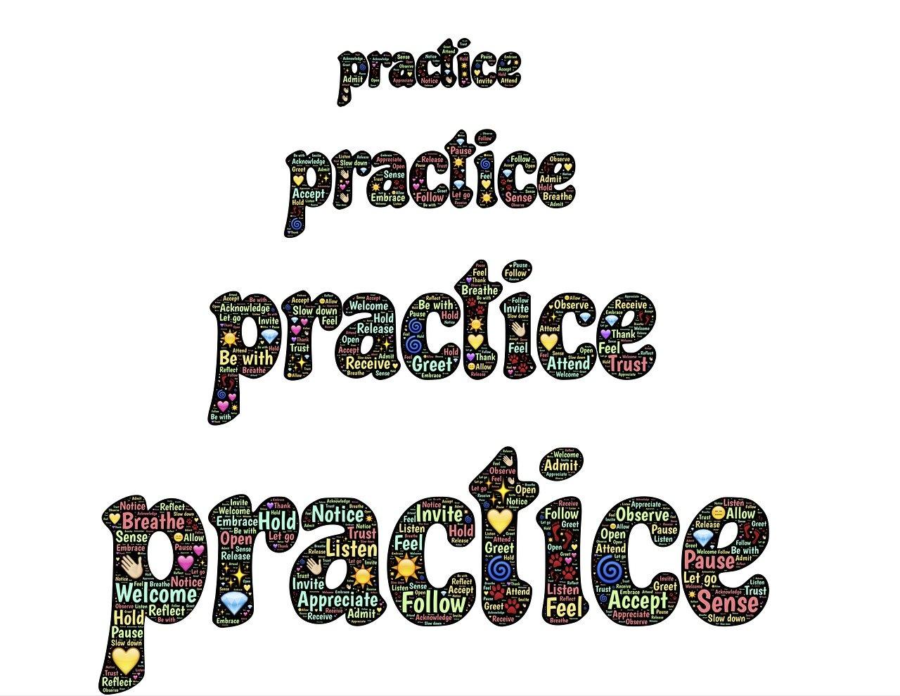 practice, emoji, words